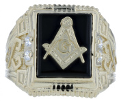 10k Yellow Gold Onyx Stone Masonic CZ Ring Freemason Symbol Ring