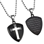 EPHESIANS 6:11 Black Shield Cross Christian Dog Tag, Stainless Steel with Bead Chain