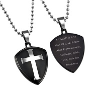 Black Cross Shield Necklace, 1 Timothy 6:11 MAN OF GOD, Stainless Steel Bead Chain