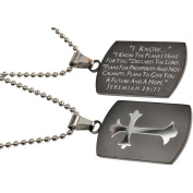 Jeremiah 29:11 Black Dog Tag Cross, Stainless Steel With Bead Chain