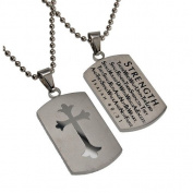 Isaiah 40:31 Dog Tag Cross, Stainless Steel with Bead Chain