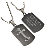 Philippians 4:13 Black Dog Tag Cross, Stainless Steel With Bead Chain