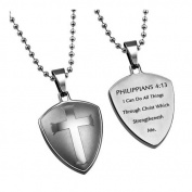 Shield Cross Philippians 4:13 Christian Dog Tag, Stainless Steel with Bead Chain