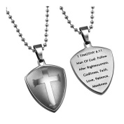 Shield Cross 1 Timothy 6:11 Christian Dog Tag Stainless Steel with Bead Chain