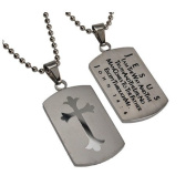 John 14:6 Dog Tag Cross, Stainless Steel with Bead Chain