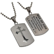 1 Timothy 6:11 Dog Tag Cross, Stainless Steel with Bead Chain