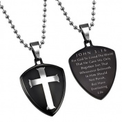 JOHN 3:16 Black Shield Cross Christian Dog Tag, Stainless Steel with Bead Chain