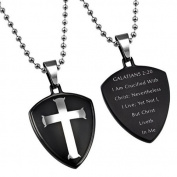 GALATIANS 2:20 Black Shield Cross Christian Dog Tag, Stainless Steel with Bead Chain