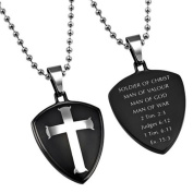 Cross Shield Necklace, 2 Timothy 2:3 MAN OF GOD, Stainless Steel Bead Chain
