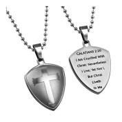 Shield Cross Galatians 2:20 Christian Dog Tag Stainless Steel with Bead Chain