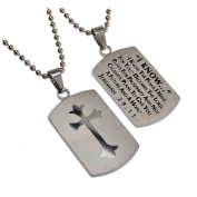 Jeremiah 29:11 Dog Tag Cross, Stainless Steel with Bead Chain