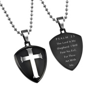 PSALM 23 Black Shield Cross Christian Dog Tag, Stainless Steel with Bead Chain