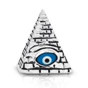 Masonic Glass Evil Eye Stelring Silver Pendant