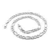 PORI Jewellers Italian Sterling Silver Figaro Chain Men's Necklace, 80cm