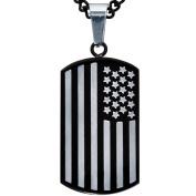 American Steel Jewellery Men's Stainless Steel American Flag Dog Tag, 60cm