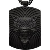 American Steel Jewellery Men's Stainless Steel Black Wolf Head Dog Tag, 60cm
