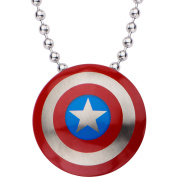 Marvel Stainless Steel Small Captain America Shield Necklace, 60cm