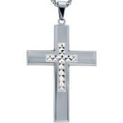 American Steel Jewellery Men's Stainless Steel Cross with Silver Tone Diamond Cut Cross with Chain