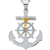 American Steel Jewellery Men's Stainless Steel Cross Anchor with Gold Tone Jesus with Chain