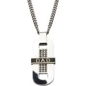 Steel Art Men's Stainless Steel High-Polish DAD Inscription and Black IP Detail with Black CZ Long Dog Tag Pendant, 60cm Chain