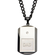 Steel Art Men's Stainless Steel Black IP and Steel Inscription DAD with Clear CZ Dog Tag Pendant, 60cm Chain
