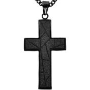 American Steel Jewellery Men's Stainless Steel Black Diamond-Cut Cross, 60cm