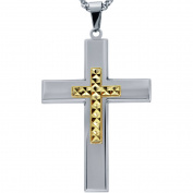 American Steel Jewellery Men's Stainless Steel Cross with Gold Tone Diamond Cut Cross with Chain