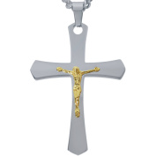 American Steel Jewellery Men's Stainless Steel Cross with Gold Tone Jesus with Chain