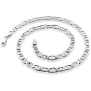 PORI Jewellers Italian Sterling Silver Marina Chain Men's Necklace, 41cm