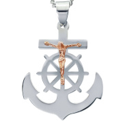 American Steel Jewellery Men's Stainless Steel Cross Anchor with Rose Gold Tone Jesus with Chain