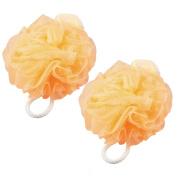 Unique BargainsPale Orange Hanging Hoop Nylon Mesh Net Bath Ball Shower Pouffe 2 Pcs
