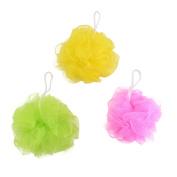 Unique BargainsBathroom Washroom Nylon Mesh Ball Design Bath Shower Pouffe Assorted Colour 3 Pcs
