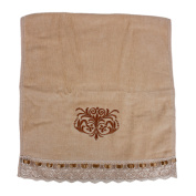 Unique Bargains Embroidered Lace Facecloth Washcloth Hand Towel Beige
