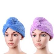 Uarter 2PCS Super Absorbent Microfiber Shower dry Hair Cap for Bath, Spa, Makeup