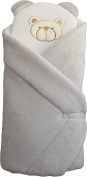 BlueberryShop FLEECE with Pillow Very WARM and Cute Swaddle Wrap, Blanket, Sleeping Bag, baby shower GIFT PRESENT 0-3m ( 0-3m ) ( 78 x 78 cm ) Grey