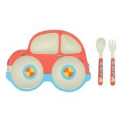 Pueri Kids Tableware Set Bamboo Fibre Cartoon Dinnerware Set Children's Eco-friendly Tableware Set Baby Plate Set