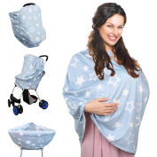 Baby Car Seat Cover, Stretchy Multi-use Nursing Cover Nursing Breastfeeding Cover Scarf for Stroller and Shopping Cart Baby Carrier High Chair Cover