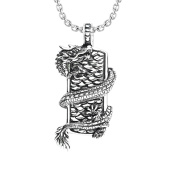 Men's Necklace with Dragon Wrapped on Shield