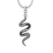 Sterling Silver Black Snake Necklace with Black Spinel