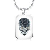 Sterling Silver Black Cubic Zirconia Skull Necklace