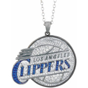 NBA Men's Crystal Stainless Steel Los Angeles Clippers Medallion Pendant, 60cm