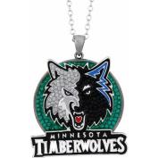 NBA Men's Crystal Stainless Steel Minnesota Timberwolves Medallion Pendant, 60cm