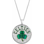 NBA Men's Fine Silver-Tone Glass Boston Celtics Medallion Pendant, 60cm