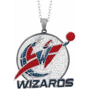 NBA Men's Crystal Stainless Steel Washington Wizards Medallion Pendant, 60cm