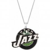 NBA Men's Crystal Fine Silver-Tone Utah Jazz Medallion Pendant, 60cm