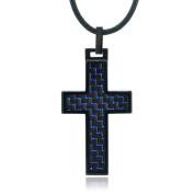 Daxx Men's Tungsten Carbon Fibre Inlay Cross Pendant Fashion Necklace, 46cm
