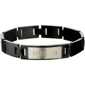 Steel Art Men's Stainless Steel DAD Engraved with Clear CZ and Black IP Classic Link Bracelet