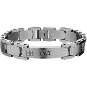Steel Art Men's Stainless Steel Geometric Link with Clear CZ and DAD Engraved Bracelet