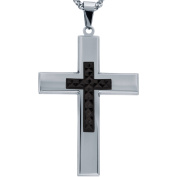 American Steel Jewellery Men's Stainless Steel Cross with Black Tone Diamond Cut Cross with Chain