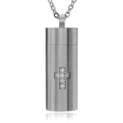 Daxx Men's CZ Accent stainless Steel Cross Chamber Pendant Fashion Necklace